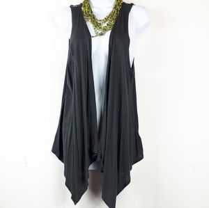 XXI Open Front Doily Sleeveless Charcoal Vest